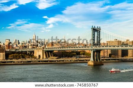 Manhattan Bridge with Manhattan in the background #745850767