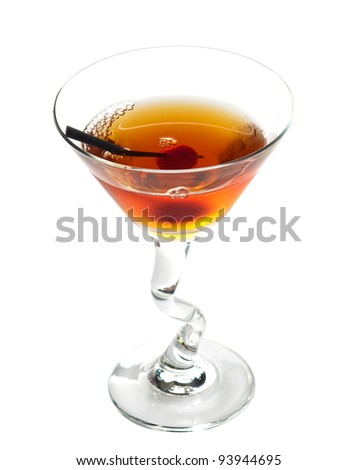 Manhattan cocktail on martini glass with Maraschino Cherrie isolated on white background