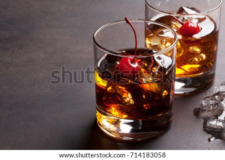 Manhattan cocktail with whiskey. With copy space #714183058