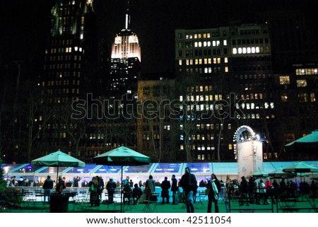 MANHATTAN - DECEMBER 4: A Nighttime view of Bryant Park after the Christmas Tree lighting on Dec 4, 2009 in New York City.