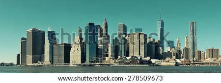 Manhattan financial district with skyscrapers over East River. #278509673