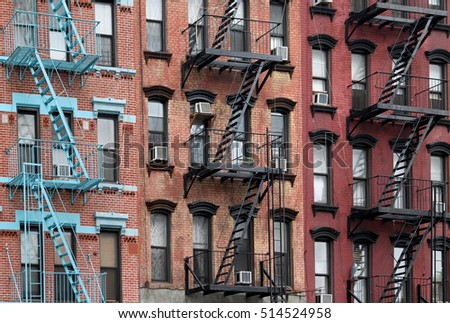Manhattan Lower East Side apartment building with external fire ladders