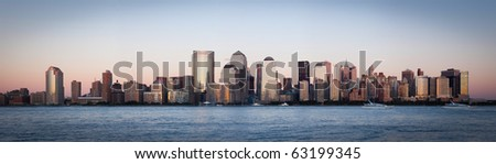 Manhattan, lower New York financial offices(downtown) over Hudson river panorama from Jersey city