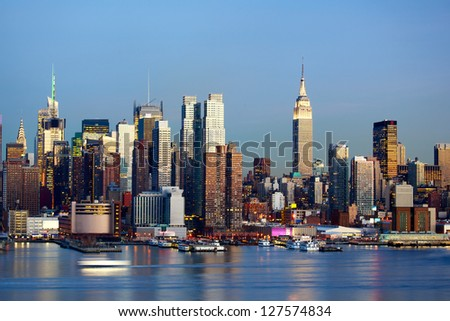 Manhattan Midtown skyline at dusk over Hudson River, New York City