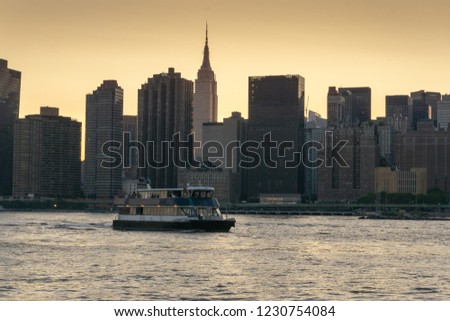 Manhattan Midtown skyline panorama at sunset. New York #1230754084