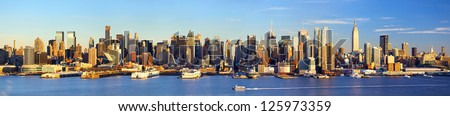 Manhattan Midtown skyline panorama before sunset, New York