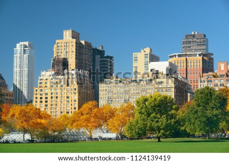 Manhattan midtown skyline viewed from central park in Autumn in New York City. #1124139419