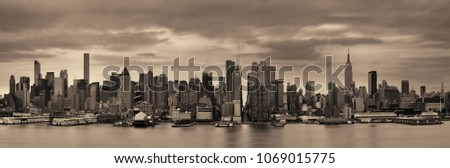 Manhattan midtown skyscrapers and New York City skyline  #1069015775