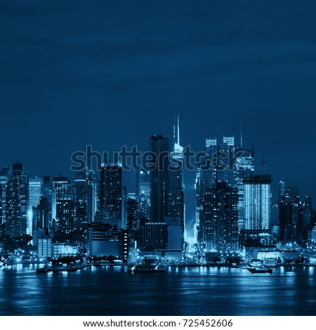 Manhattan midtown skyscrapers and New York City skyline at night #725452606