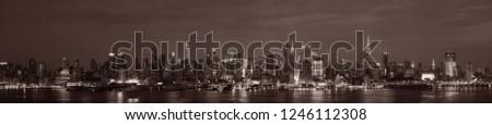 Manhattan midtown skyscrapers and New York City skyline at night panorama #1246112308