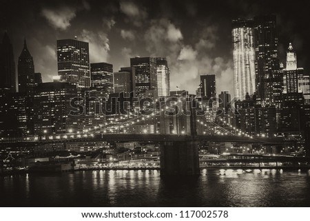Manhattan, New York City - Black and White view of Tall Skyscrapers, U.S.A.