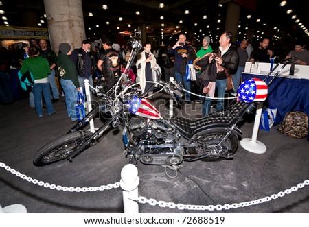 MANHATTAN, NEW YORK - JANUARY 22: a custom made motorcycle in the New York City International Motorcycle Show on January 22, 2011 in Manhattan, New York.