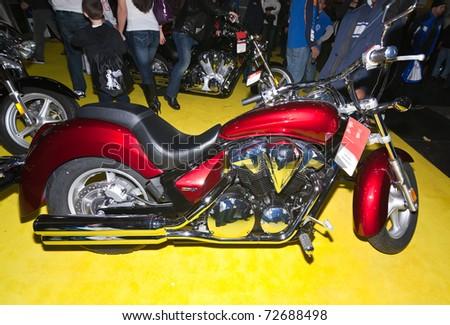 MANHATTAN, NEW YORK - JANUARY 22: a Honda motorcycle in the New York City International Motorcycle Show on January 22, 2011 in Manhattan, New York.
