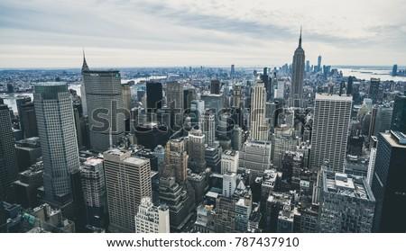 Manhattan, New York Skyline of skyscrapers
