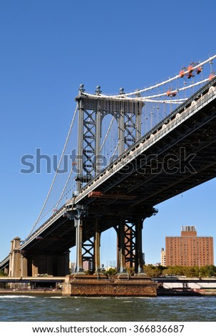 Manhattan, New York, USA - August 27, 2015: bridge in New York City #366836687