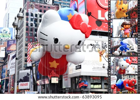 MANHATTAN - NOVEMBER 26: A Hello Kitty balloon passes Times Square at the Macy's Thanksgiving Day Parade November 26, 2009 in Manhattan.