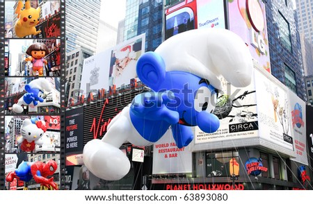 MANHATTAN - NOVEMBER 26: A Smurf balloon passes Times Square at the Macy's Thanksgiving Day Parade November 26, 2009 in Manhattan.