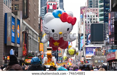 MANHATTAN - NOVEMBER 25 : Hello Kitty character balloon passing Times Square at the Macy's Thanksgiving Day Parade November 25, 2010 in Manhattan.