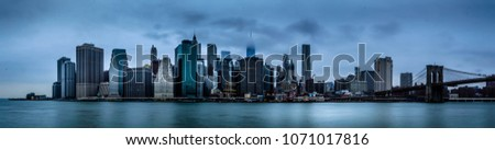 Manhattan Panorama from Brooklyn Bridge Park. NY