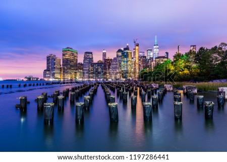 Manhattan panoramic skyline at night. New York City, USA. Office buildings and skyscrapers at Lower Manhattan (Downtown Manhattan). #1197286441