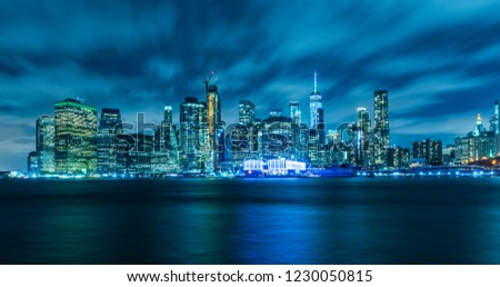 Manhattan panoramic skyline at night. New York City, USA. Office buildings and skyscrapers at Lower Manhattan (Downtown Manhattan). #1230050815