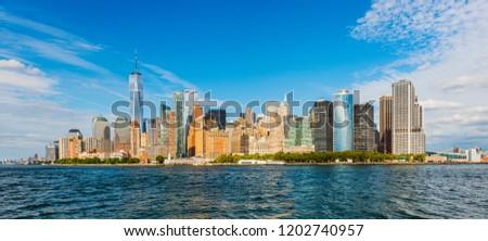 Manhattan panoramic skyline. New York City, USA. Office buildings and skyscrapers at Lower Manhattan (Downtown Manhattan). #1202740957