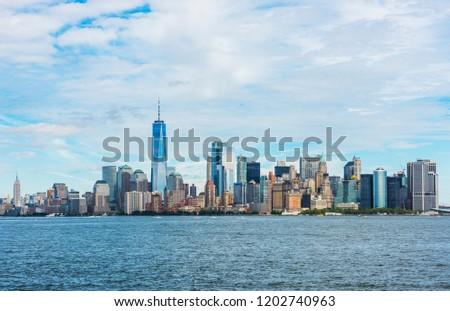 Manhattan panoramic skyline. New York City, USA. Office buildings and skyscrapers at Lower Manhattan (Downtown Manhattan). #1202740963