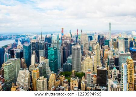Manhattan panoramic skyline. New York City, USA. Office buildings and skyscrapers at Lower Manhattan (Downtown Manhattan). #1220594965
