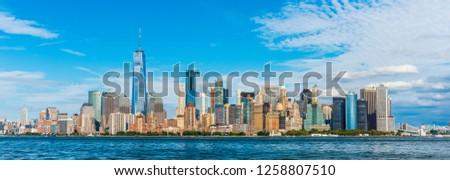 Manhattan panoramic skyline view. New York City, USA. Office buildings and skyscrapers at Lower Manhattan (Downtown Manhattan). #1258807510