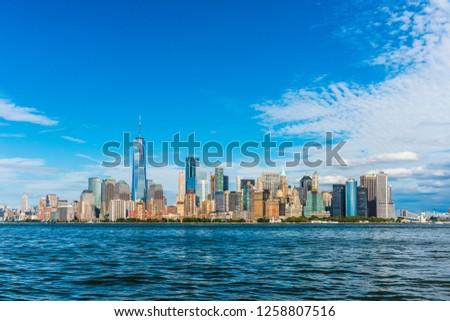 Manhattan panoramic skyline view. New York City, USA. Office buildings and skyscrapers at Lower Manhattan (Downtown Manhattan). #1258807516