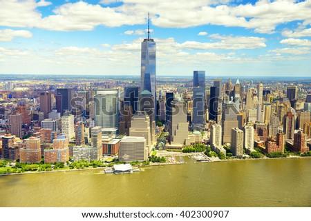 Manhattan skyline aerial view, USA #402300907