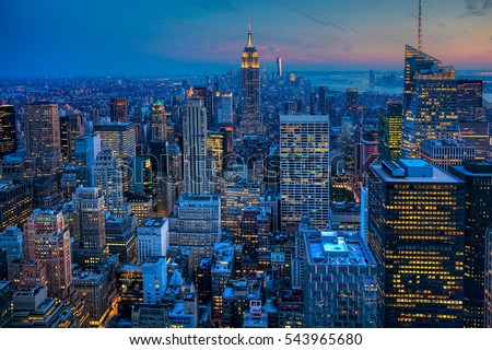 Manhattan Skyline after dark #543965680