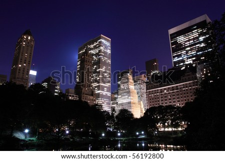 Manhattan Skyline and Central Park at Night, New York City