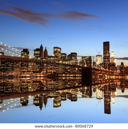 Manhattan Skyline and Manhattan Bridge At Night, New York City