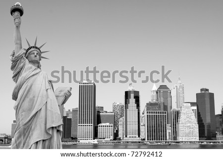 Manhattan Skyline and The Statue of Liberty on a clear day, New York City