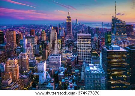 Stock Photo Manhattan Skyline at Dusk