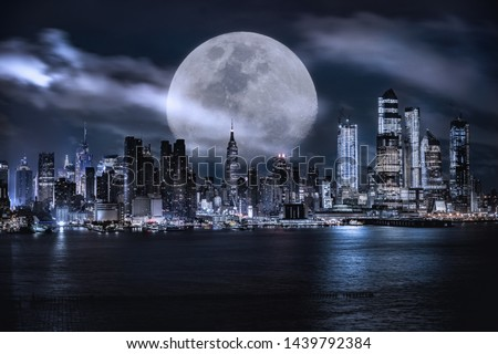 Manhattan skyline at dusk, NYC USA