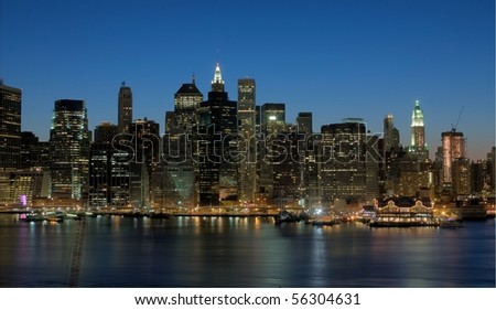 Manhattan Skyline at Night, HDR Image