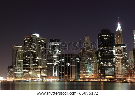 Manhattan Skyline At Night, New York City #65095192