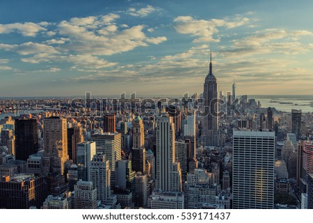 Manhattan skyline at sunset in New York City #539171437