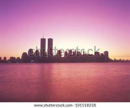 Manhattan skyline at sunset in New York City, New York - stock photo