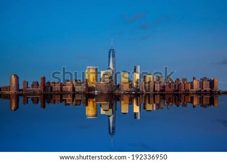 Manhattan Skyline from Jersey at twilight, New York City #192336950
