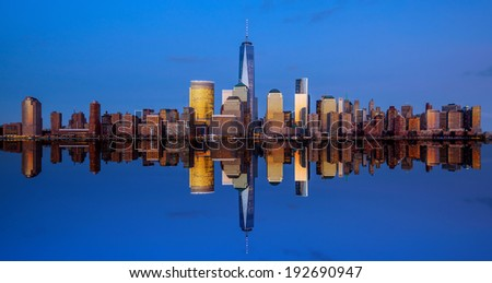 Manhattan Skyline from Jersey at twilight, New York City #192690947