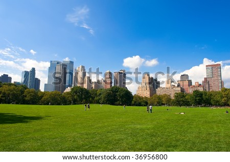 Manhattan skyline from the Central Park, New York, USA