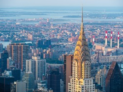 Manhattan skyline including architectural landmark Chrysler Building in New York City, United States of America.