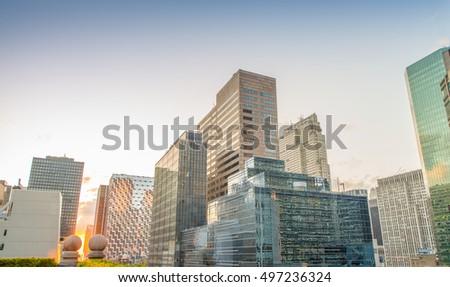 Manhattan skyline on a beautiful summer evening. #497236324