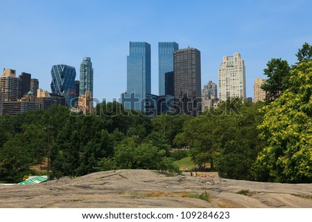 Manhattan skyline view from Central Park, NYC