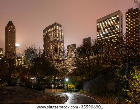 Manhattan Skyline viewed from Central Park at night #355906901