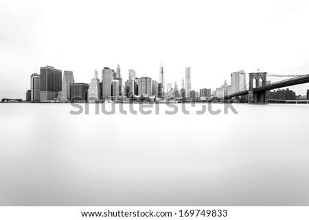 Manhattan Skyline with Brooklyn Bridge, New York City  #169749833