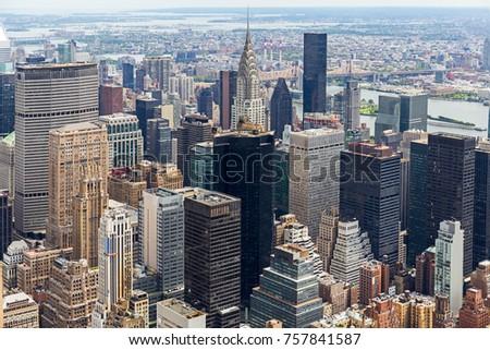 Manhattan Skyscraprers Aerial View, NYC, USA #757841587